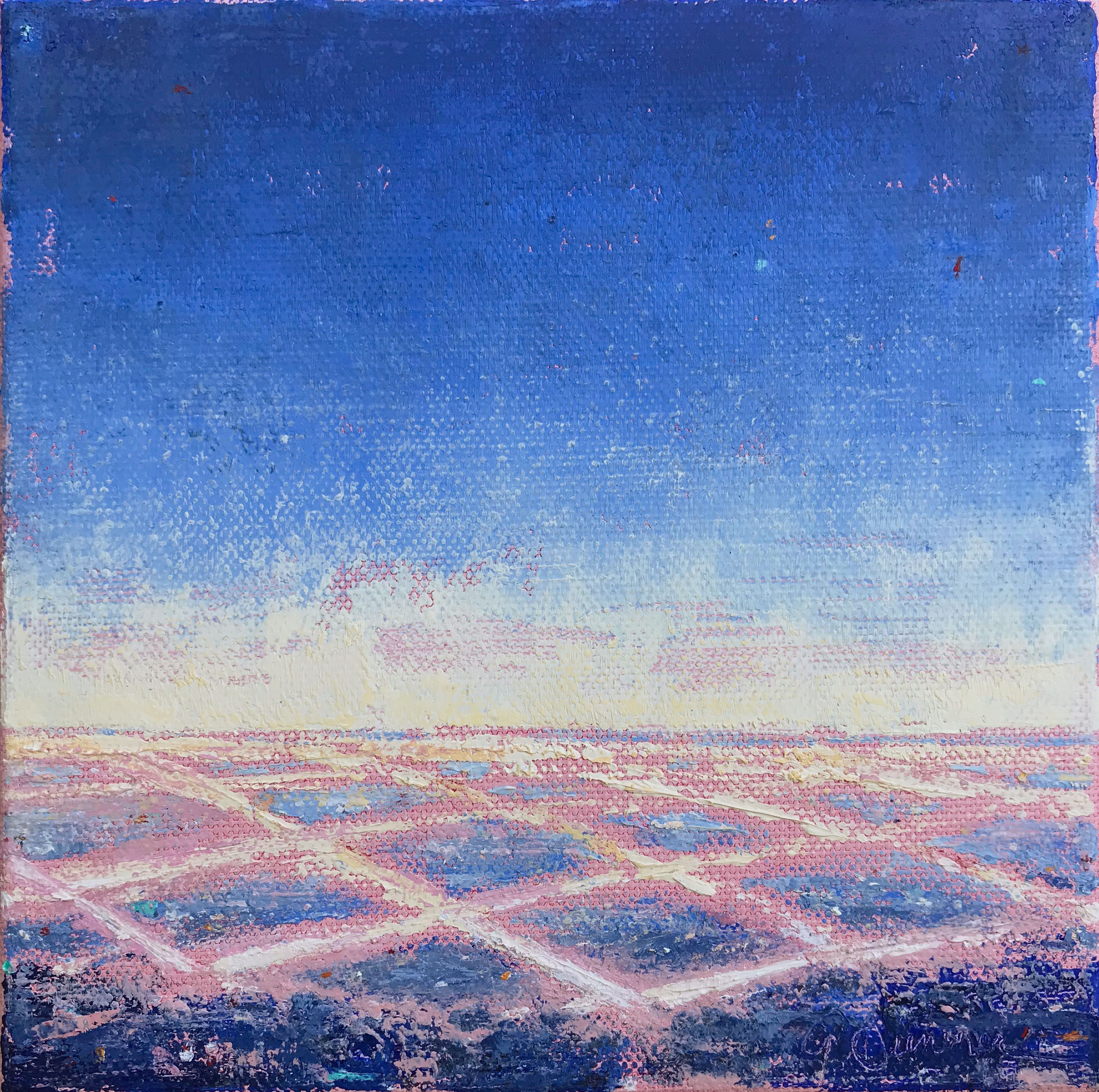 ©Gay-Summer-Rick_On-The-Grid---Blue-I_Oil-on-Canvas_6x6in_np