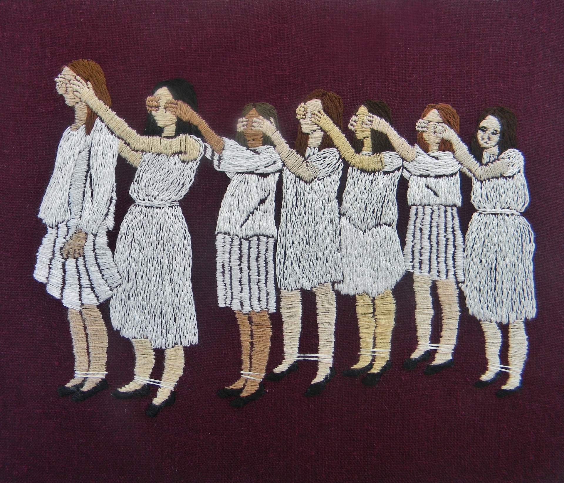 Michelle Kingdom, The world would continue without us, Embroidery, 10.5x12.5in, framed