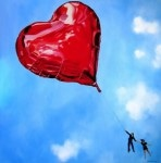 Red Heart Balloon Painting